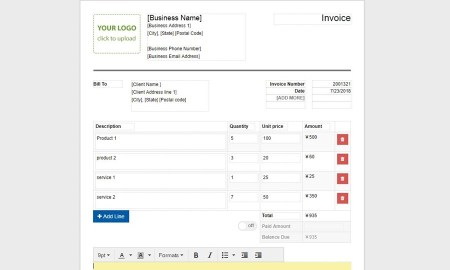 Invoice template by create.onlineinvoices.com