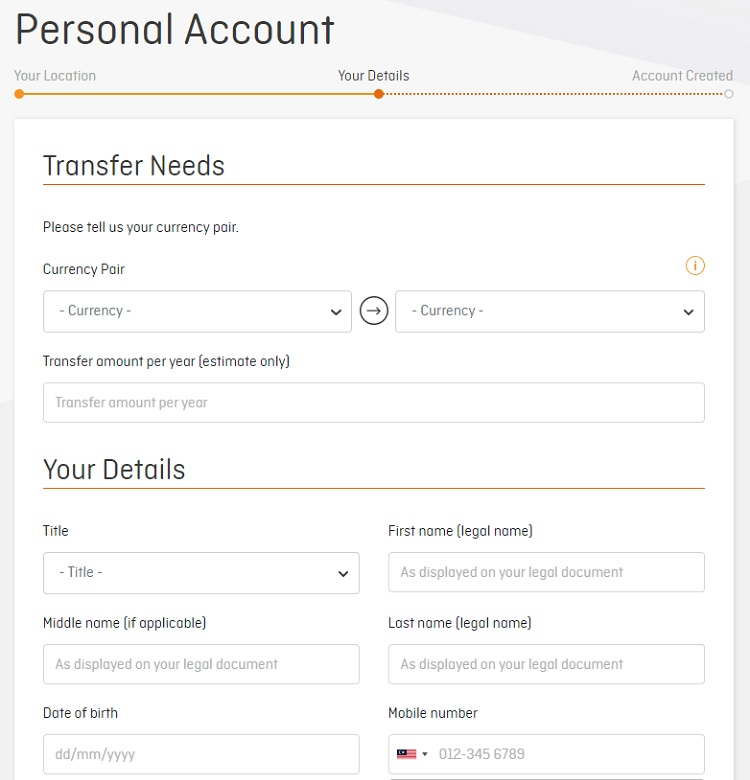 creating personal ofx account