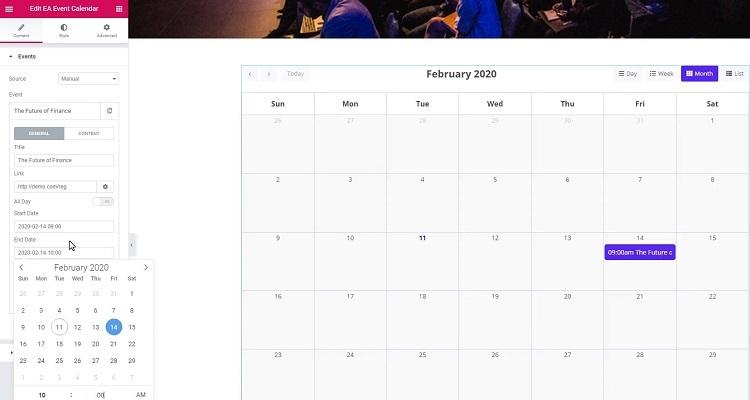 WordPress event calendar plugin for Elementor