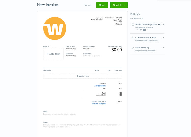 Free invoicing tool at Freshbooks