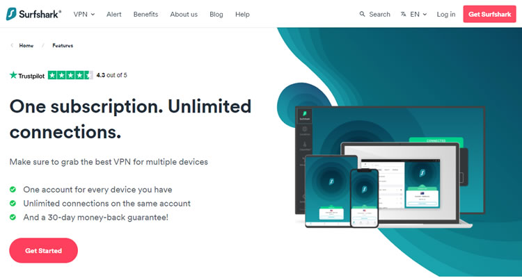 SurfShark supports unlimited devices.