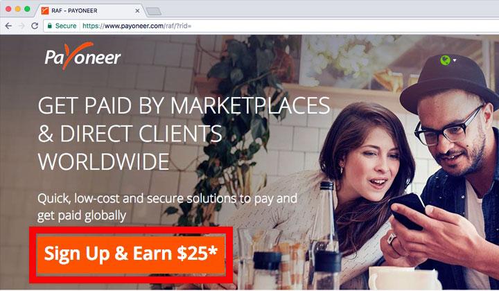 Payoneer Sign Up & Earn $25