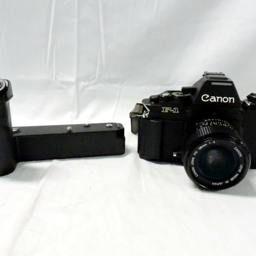 カメラ買取実績紹介「キャノン(CANON) NEW F-1 SN 111725 + NEW FD 28mm F2 曇り+ AEWINDER FN+New FD 100-300mm F5.6」