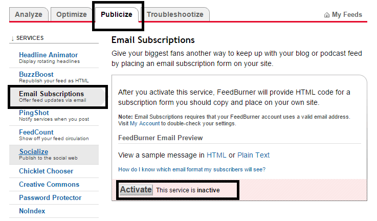 Activate Feed Burner - The Feed does not have Subscriptions by Email Enabled
