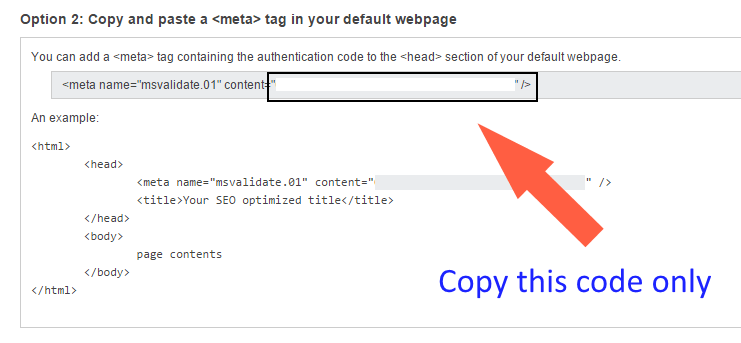 Add meta tag Code to WordPress> Tool