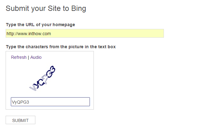 Submit Blog URL to Bing Webmaster Tool