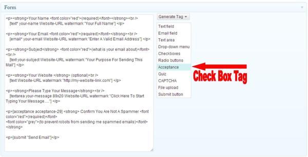 check box tag