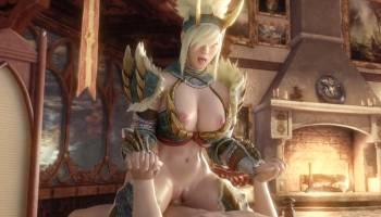 L'héroïne de Monster Hunter World baise dans son armure Zinogre