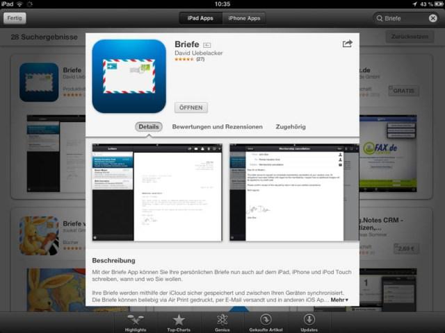 Briefe App im Appstore