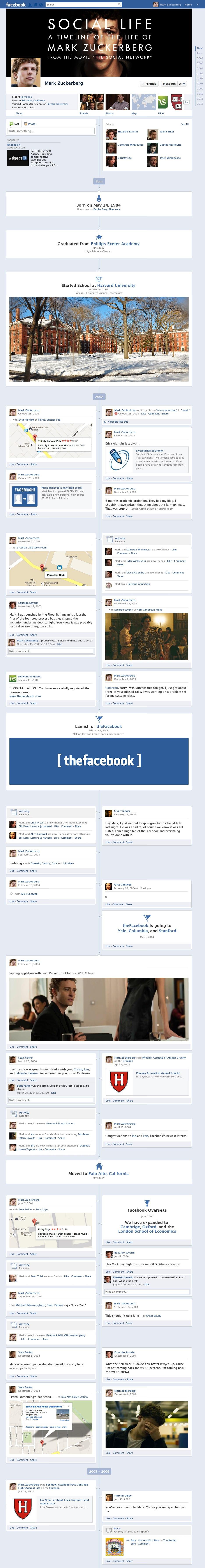 The Facebook Timeline of Mark Zuckerberg