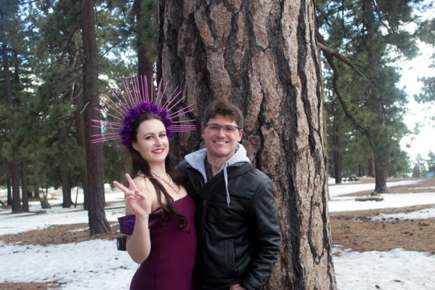 Purple dress snow photoshoot