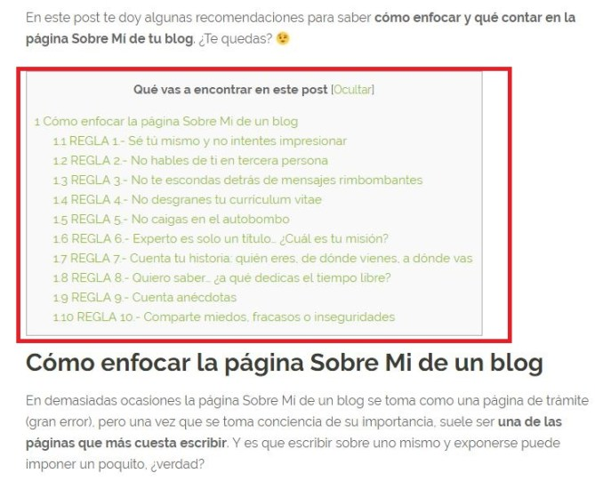 Uso de índices de contenidos en blogs