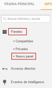 Creación de panel de mandos en Analytics