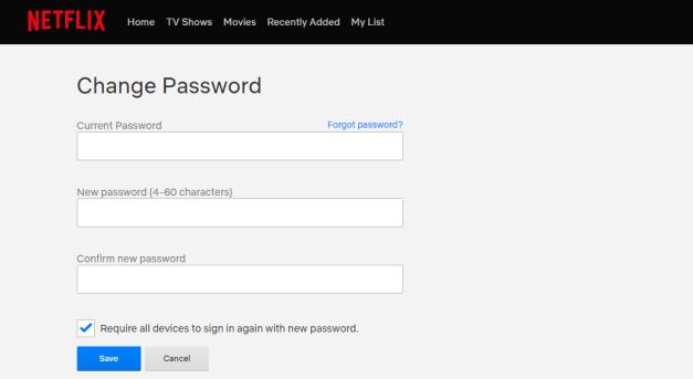 how to change netflix password.