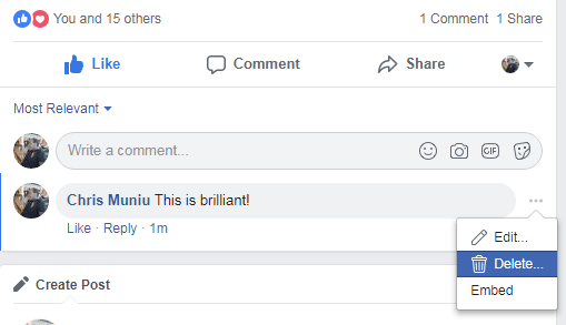 How To Delete a Comment On Facebook
