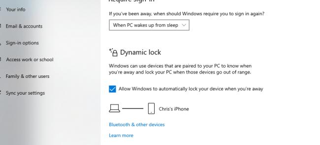 how to lock windows 10 screen with dynamic lock screen