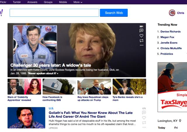 Yahoo Updates App, Homepage
