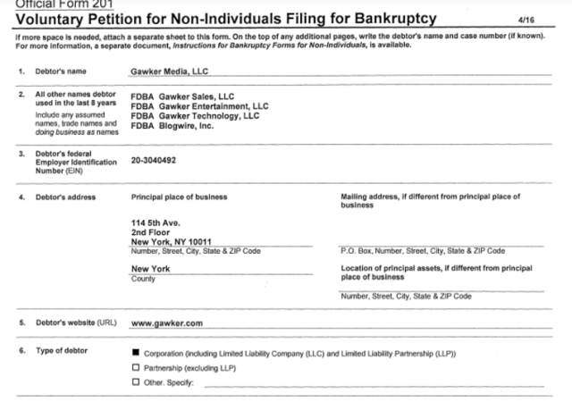 Gawker Files Bankruptcy, Selling To Ziff Davis