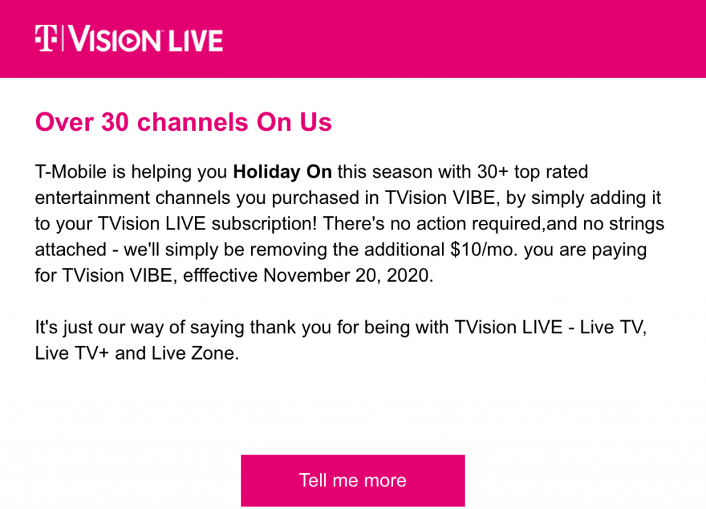 T-Mobile Free Channels Email