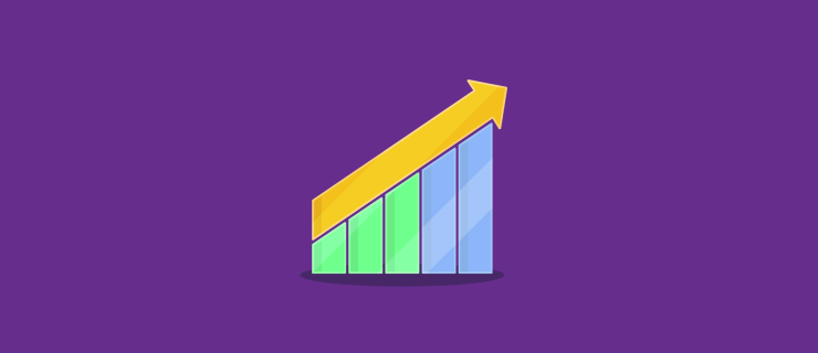 colorful upward trend of a bar chart