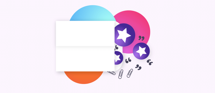 envelope opening up and spilling out stars and colorful circles