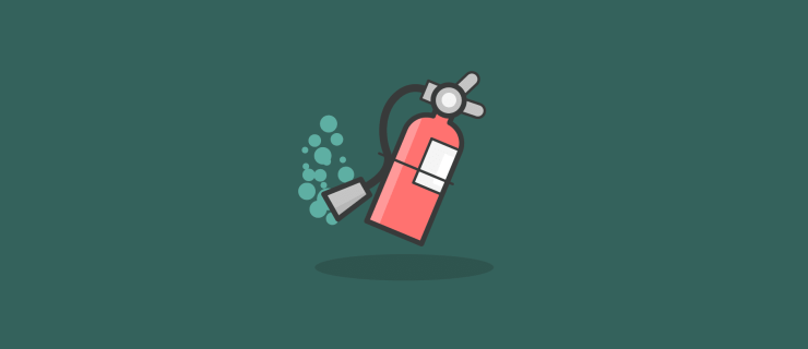 fire extinguisher propelling itself from left to right