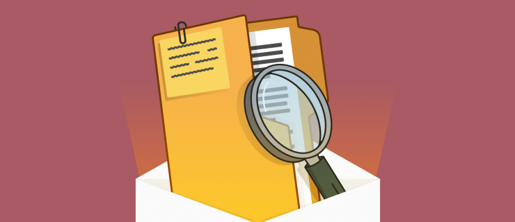 file folder and magnifying glass emitting from an envelope