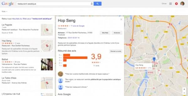 Nouveau bloc de résultats locaux sur Google (août 2015)