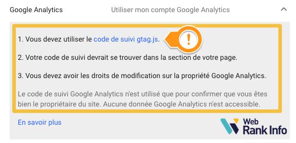 Valider propriété GSC Google Analytics