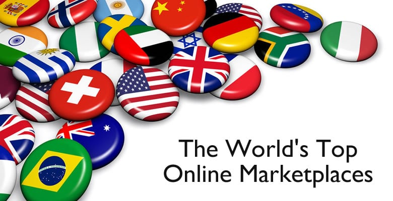 Flag buttons for the worlds top online marketplaces