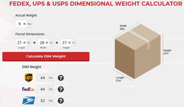 DIM Weight Calculator