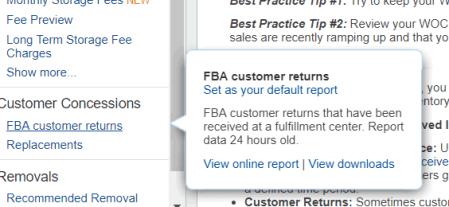 FBA customer returns report