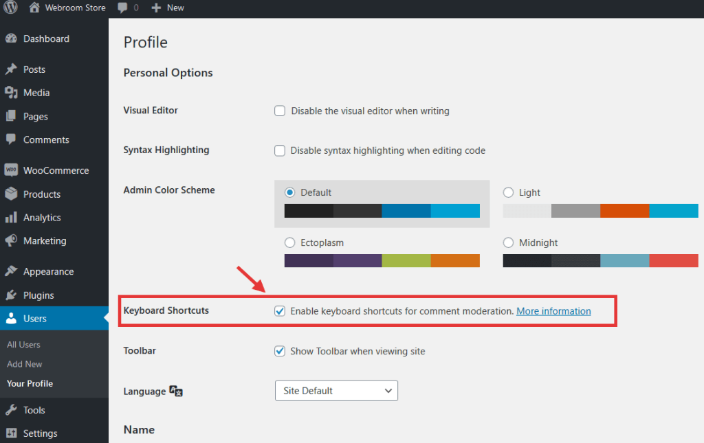 Enable keyboard shortcuts for comment moderation.