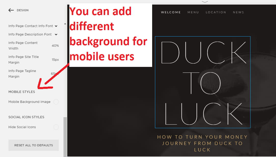 You can add different background for mobile users and desktop users as separately
