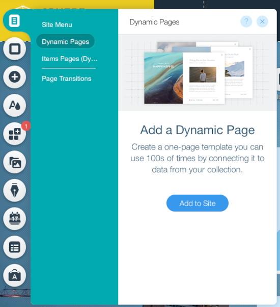 Wix Editor Add Dynamic Page