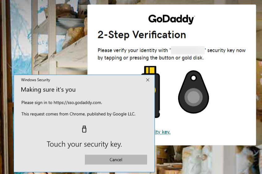 Upgrading GoDaddy two-factor authentication to a physical key