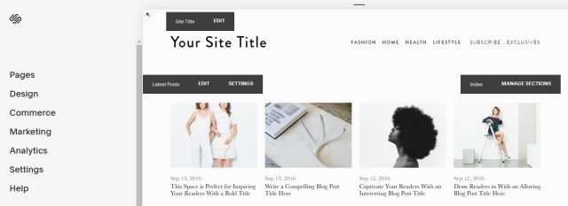 Best blogging software - Squarespace interface