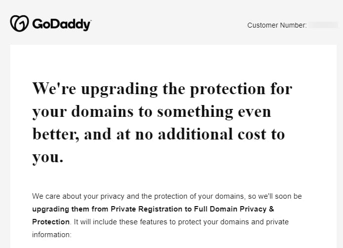 GoDaddy's domain privacy email buries the lede