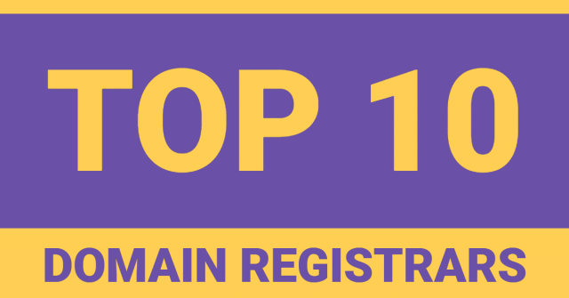 """The words """"top 10 domain registrars"""" in purple and yellow text"""