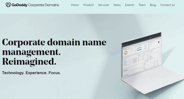 Screenshot of homepage for GoDaddy Corporate Domains
