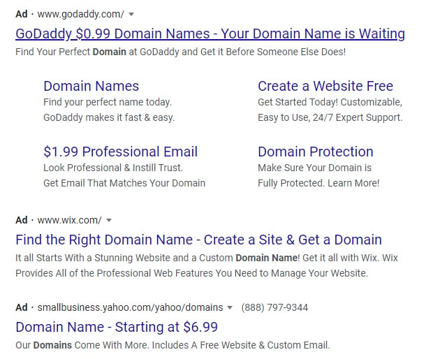 "Screenshot of Google Ads for the term ""domain name?"