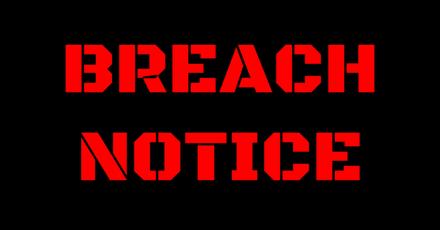 """The words """"Breach Notice"""" in red block letters on black background"""