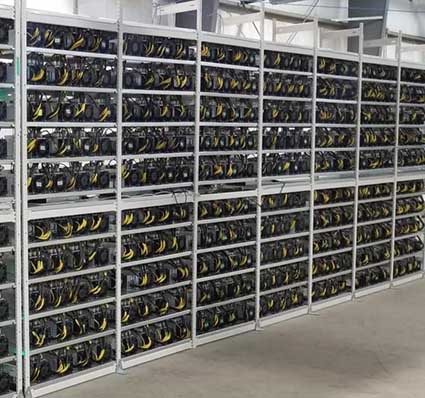 Cryptocurrency mining rigs inside a facility operated by DMG Blockchain. (Photo: DMG Blockchain)