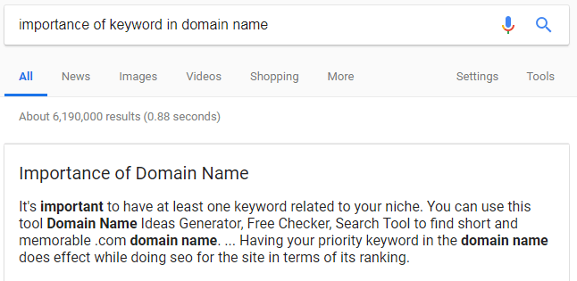 importance of keywords in your domain name