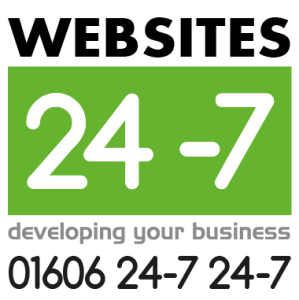 Websites 24-7 Square Logo with phone number