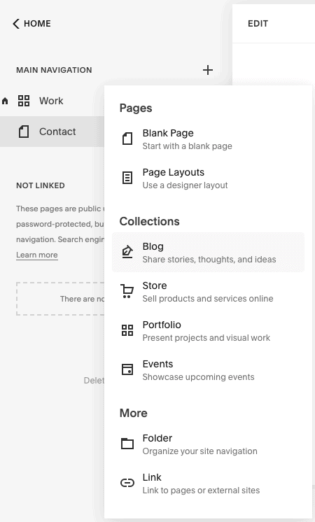 squarespace new page