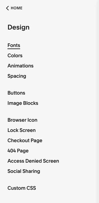 squarespace design menu