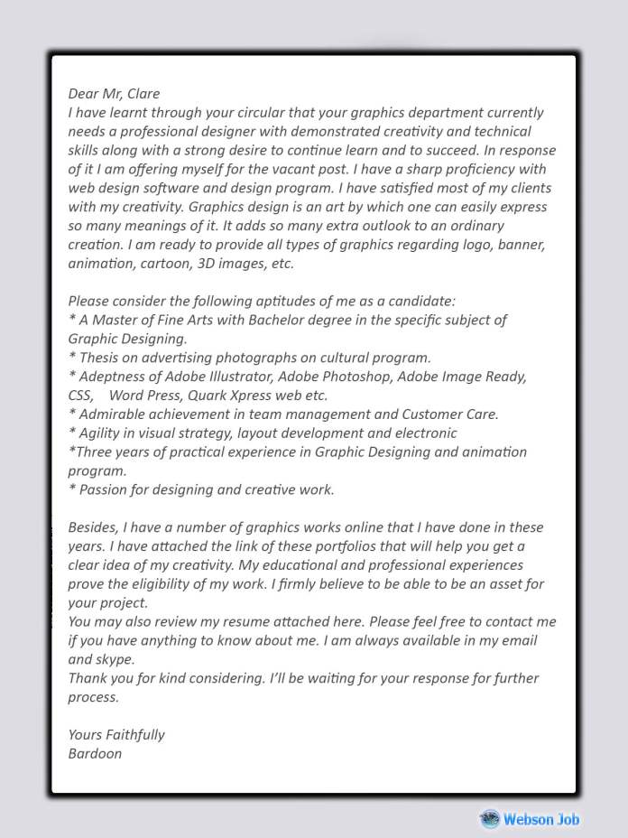 Graphic Design Cover Letter Sample For Upwork Proposal