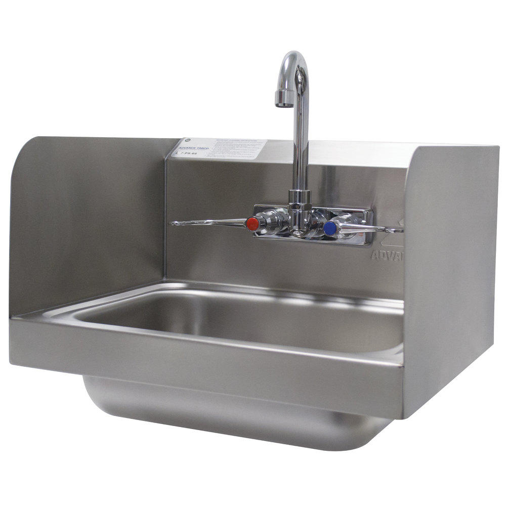 advance tabco 7 ps 66w hand sink with splash mounted gooseneck faucet and side splash guards 17 1 4