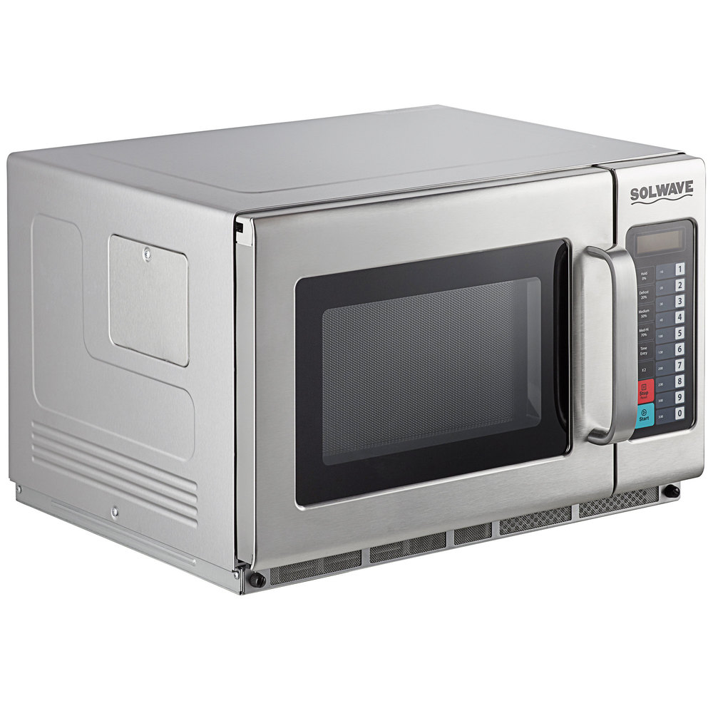 solwave 1800w stackable commercial microwave with large 1 2 cu ft interior and push button controls 208 240v